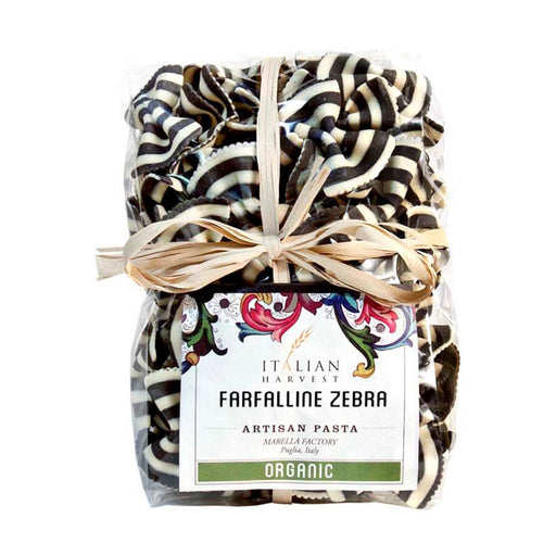 Squid Ink Farfalle Bow Tie Zebra Pasta by Marella, Organic, 8.8 oz.