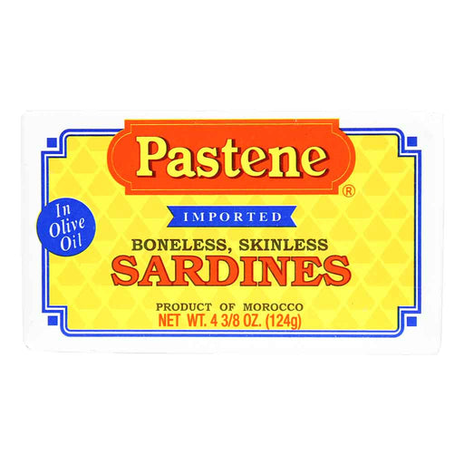 Pastene Boneless, Skinless Sardines in Olive Oil 4.3 oz. (124 g)
