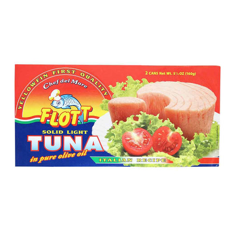 Flott Solid Light Tuna in Pure Olive Oil 2 x 5.5 oz. Cans (160 g)