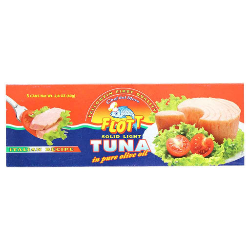 Flott Solid Light Yellowfin Tuna in Pure Olive Oil 3 x 2.8 oz. Cans (80 g)