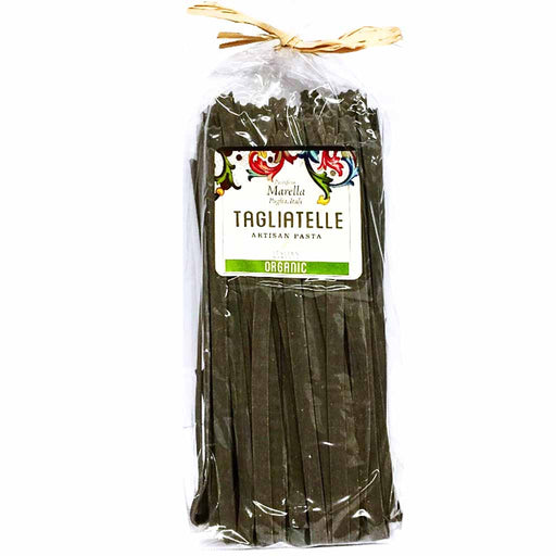 Marella Premium Organic Squid Ink Tagliatelle from Italy, 17.6 oz (500 g)