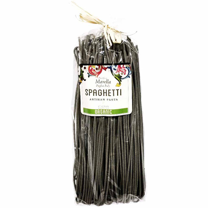Marella Premium Organic Squid Ink Spaghetti from Italy, 17.6 oz (500 g)