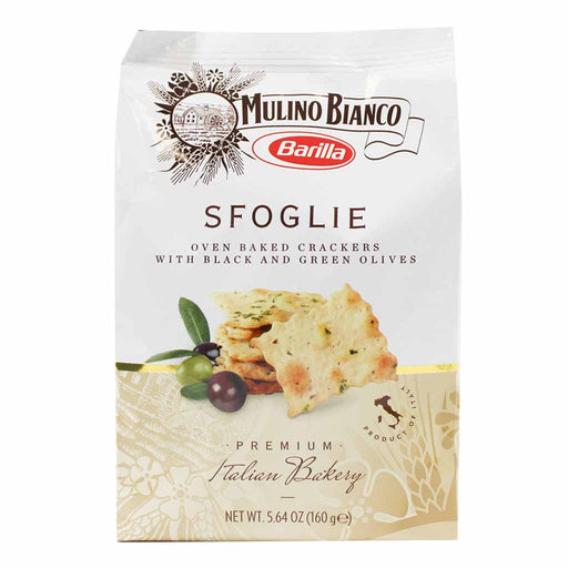 Mulino Bianco Sfoglie Crackers with Black and Green Olives 5.6 oz. (160g)