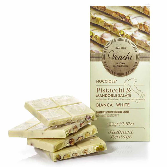 Venchi White Chocolate with Pistachios and Salted Nuts 3.5 oz. (100g)