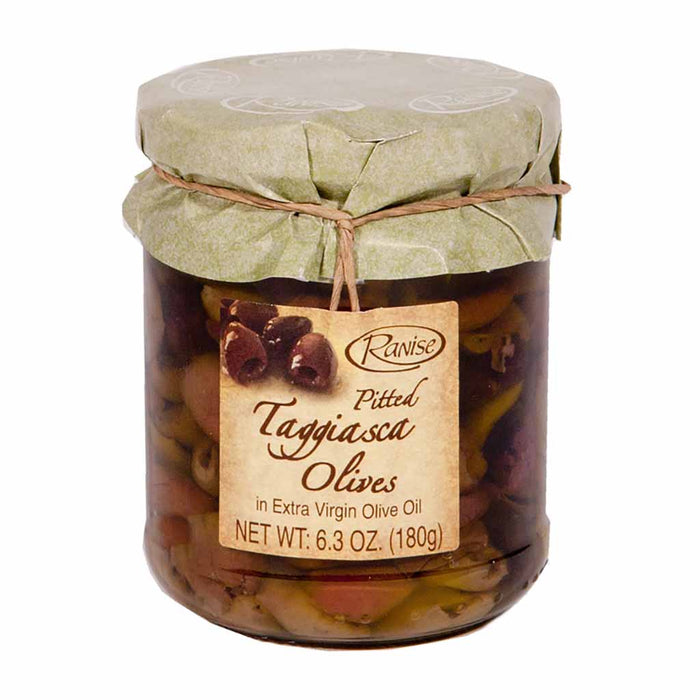 Premium Taggiasca Olives in Extra Virgin Olive Oil by Ranise, 6.3 oz. (180g)