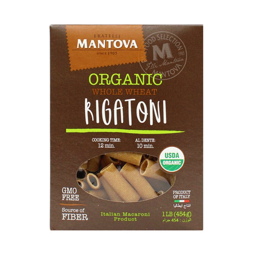 Mantova Organic Italian Whole Wheat Rigatoni 16 oz. (453g)