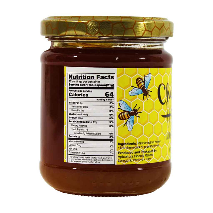 Italian Chestnut Honey, Raw, Piccolo Renato, 8.8 oz.