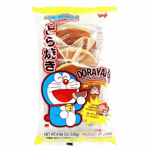 Hapi Doraemon Dorayaki Pancake with Red Bean Paste, Japanese 4.8 oz. (138g)
