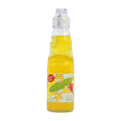 Ramune Soda Mango and Pineapple Flavor Japanese Drink with Marble by Fuji Soda, 6.8 fl oz (200mL)
