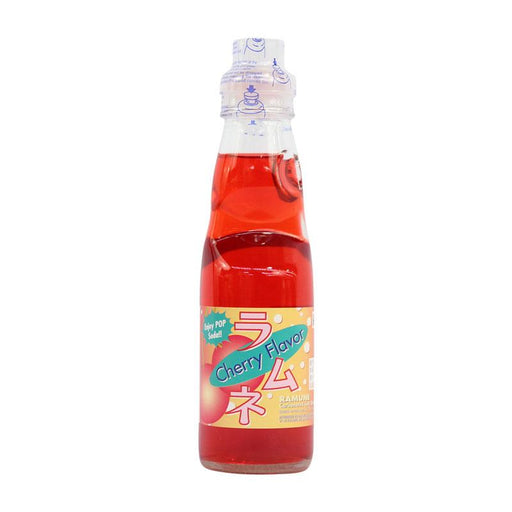 Ramune Soda Cherry Flavor Japanese Drink with Marble by Fuji Soda, 6.8 fl oz (200mL)
