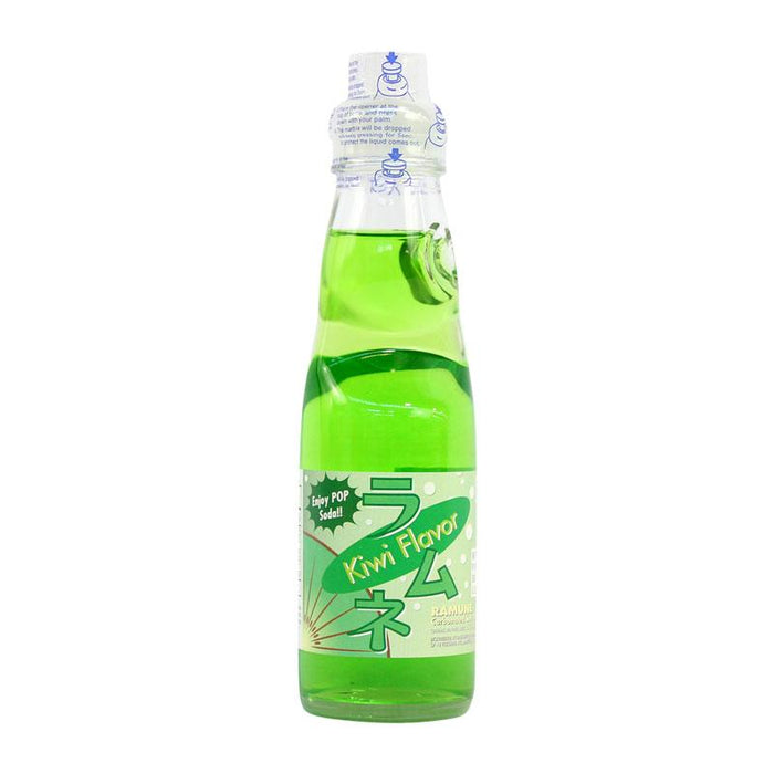 Ramune Soda Kiwi Flavor Japanese Drink with Marble by Fuji Soda, 6.8 fl oz (200mL)