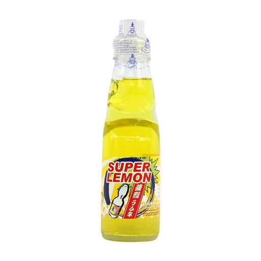 Ramune Soda Super Lemon Flavor Japanese Soda with Marble by Fuji Soda, 6.8 fl oz (200mL)