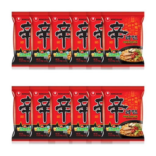 Nongshim Shin Ramyun Hot & Spicy Noodle, 16 Packs
