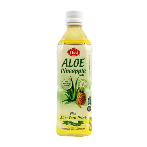 Pineapple Aloe Vera Drink with 30% Aloe Vera by Tbest, 16.9 fl oz (500mL)
