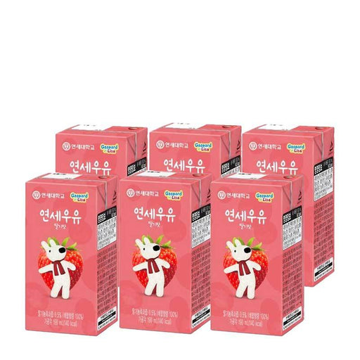 Strawberry Milk Drink from Korea by Yonsei Dairy, 6 x 190 mL