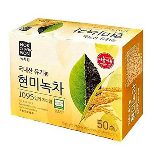 Organic Green Tea with Brown Rice 50 Tea Bags, Korean Product, 50 Tea Bags x 1.2g