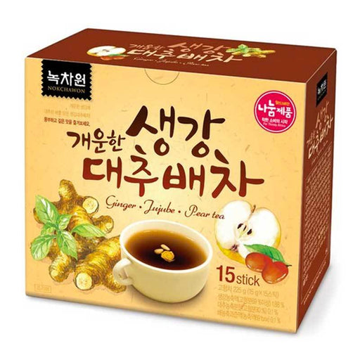 Korean Date Ginger Jujube Pear Tea, Instant Sticks, 15 Sticks x 15g