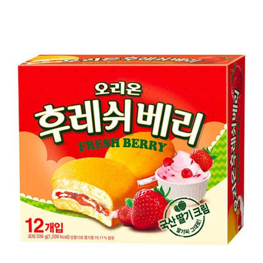 Fresh Berry Strawberry Cakes made with Fresh Korean Berries by Orion, 12 x 28g