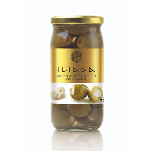 Iliada Green Olives with Garlic, 13 oz. (370g)