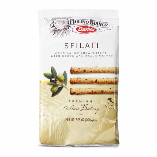 Mulino Bianco Sfilati Breadsticks with Green and Black Olives 7 oz. (200g)