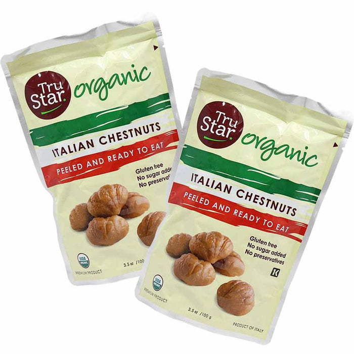 Free Shipping | 6-Pack Organic Italian Premium Grade Roasted Chestnuts by Trucco TruStar (3.5 oz. x 6)