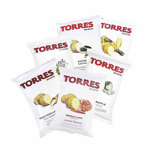 Torres Black Truffle, Caviar, Mediterranean Herb, Iberico Ham, Sparkling Wine  and Sea Salt Potato Chips, Small Packs