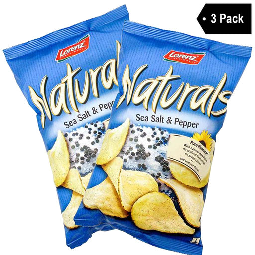 3 Pack Lorenz Naturals Potato Chips with Sea Salt and Pepper (3.5 oz x 3)