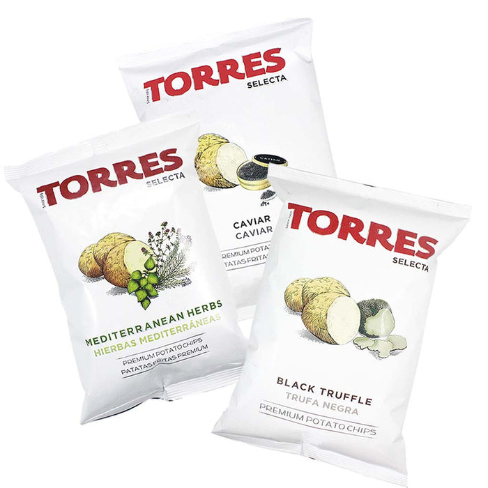 FREE Shipping | Torres Black Truffle, Caviar and Mediterranean Herb Potato Chips, 3 Pack