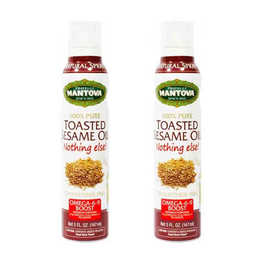 Free Shipping | 2 Pack Mantova Toasted Sesame Seed Oil Spray 5 oz.