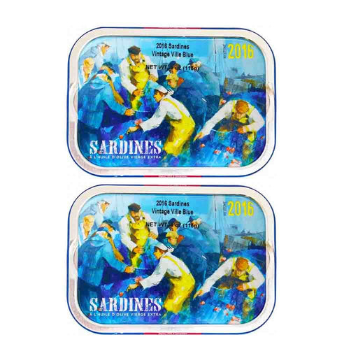 Free Shipping | 2-Pack Mouettes d'Arvor Ville Bleue 2016 French Sardines in EVOO 4 oz. (115g)