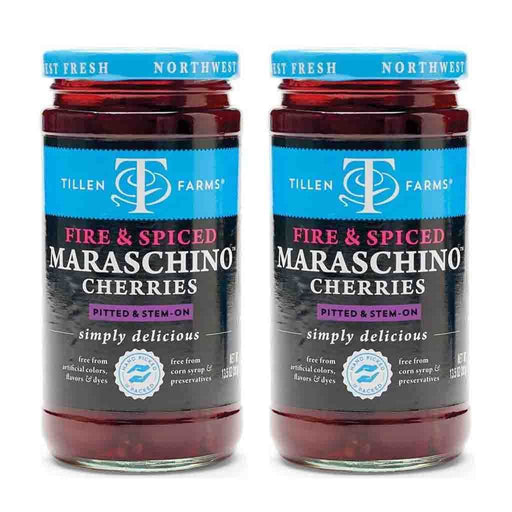 2 Pack Tillen Farms Fire and Spiced Maraschino Cherries, 13.5 oz (383 g)