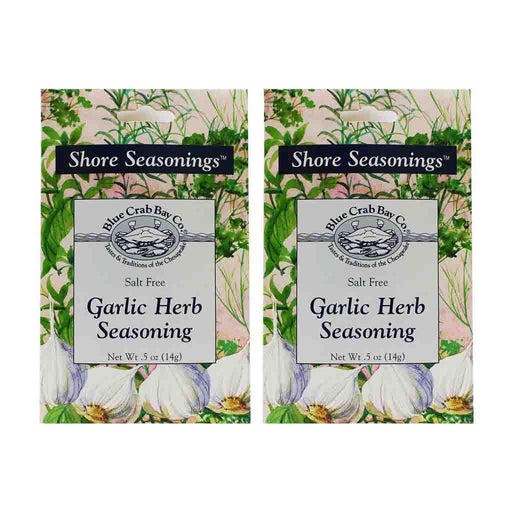 2 Pack Blue Crab Bay Co. Salt Free Garlic Herb Seasoning .5 oz. (14 g)