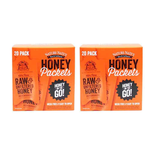 2 Pack Nature Nate's Raw and Unfiltered Honey Packets 20 Count. 6.6 fl. oz. (200ml)