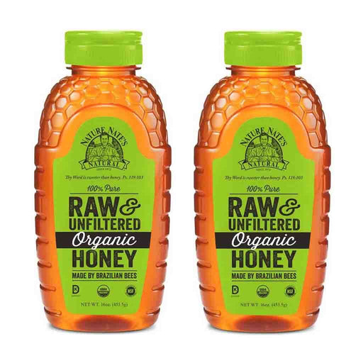 2 Pack Nature Nate's Organic Raw & Unfiltered Honey 16 oz. (453g)