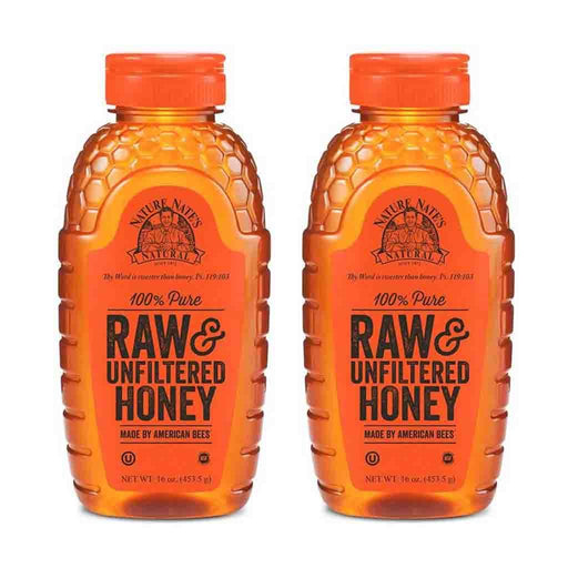 2 Pack Nature Nate's Raw & Unfiltered Honey 16 oz. (453g)