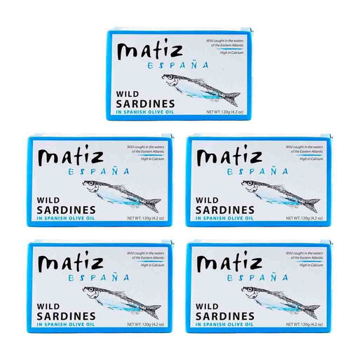 FREE SHIPPING|5 Pack Matiz Wild Sardines in Spanish Olive Oil, 4.2 oz (120 g)