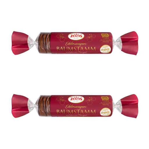 FREE SHIPPING | 2 Pack Zentis Baumstamm Marzipan with Nougat Chocolate, 3.5 oz. (100g)