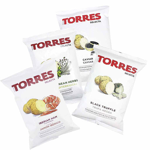 Torres Black Truffle, Caviar, Mediterranean Herb and Iberico Jamon Ham Potato Chips, Large Packs