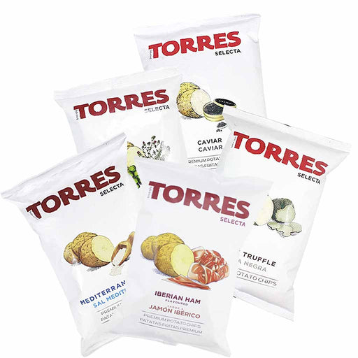 Torres Black Truffle, Caviar, Mediterranean Herb, Iberico Ham, and Sea Salt Potato Chips, Large Packs