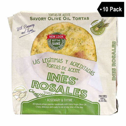 10-Pack Ines Rosales Savory Rosemary Tortas de Aceite (6 Pcs x 10)