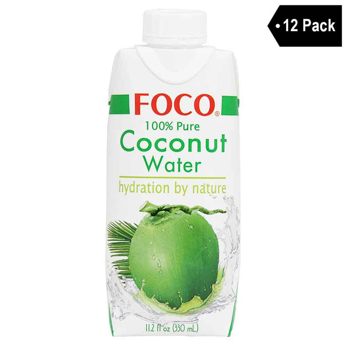 12 Pack Foco 100% Pure Coconut Water 11.2 fl. oz.