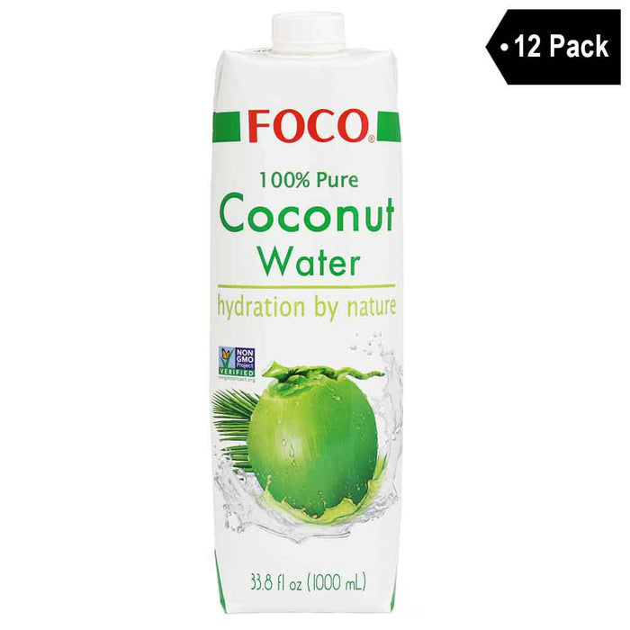 12 Pack Foco 100% Pure Coconut Water 33.8 fl. oz.