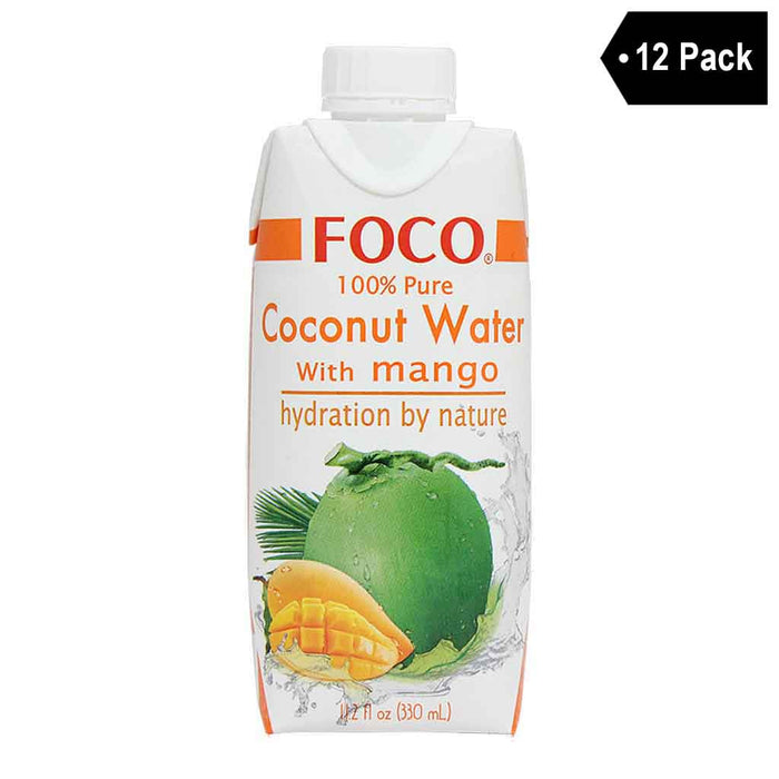 12 Pack Foco 100% Pure Coconut Water with Mango 11.2 fl. oz.