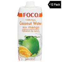 12 Pack Foco 100% Pure Coconut Water with Mango 16.9 fl. oz.