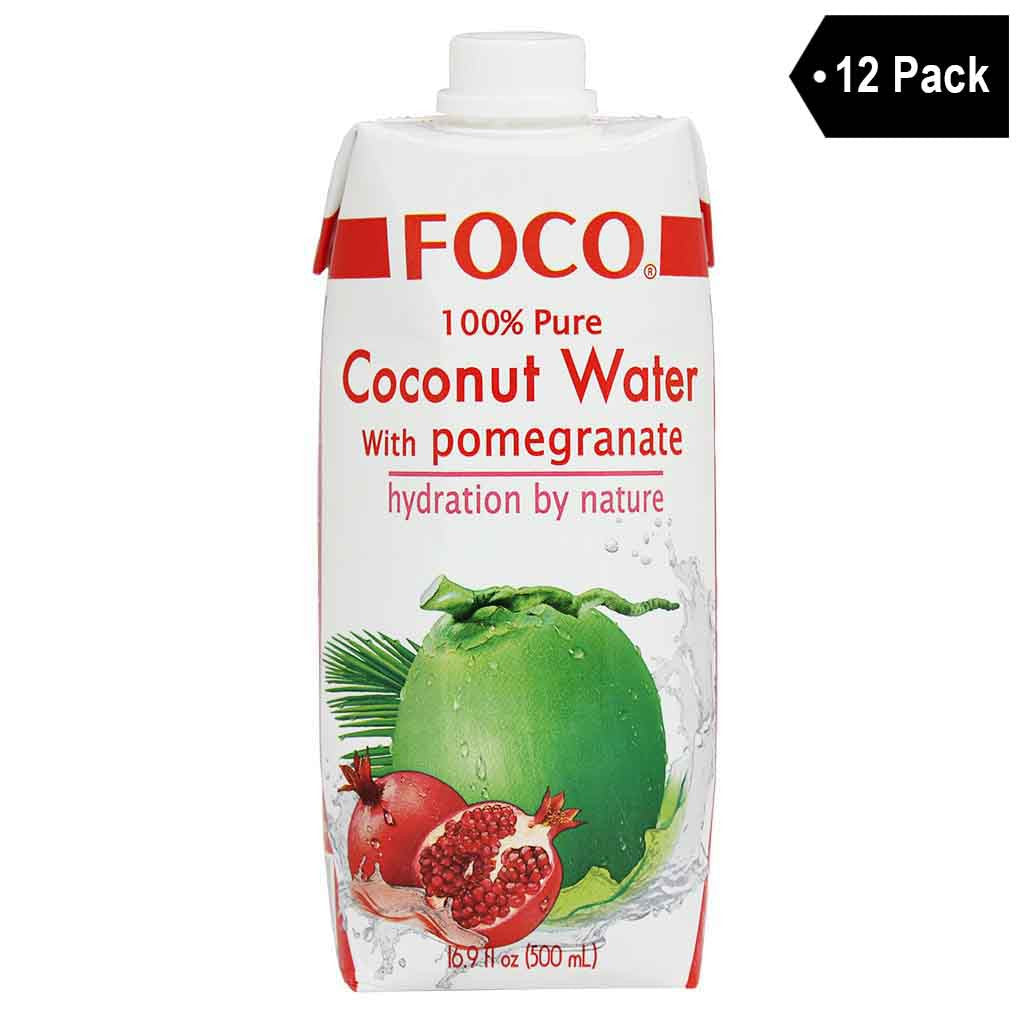 12 Pack Foco 100 Pure Coconut Water With Pomegranate 169 Fl Oz
