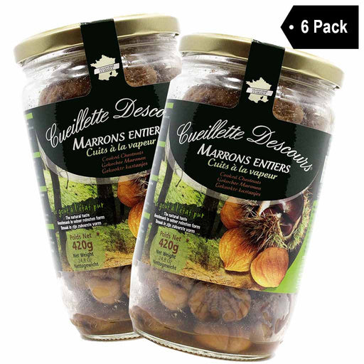 6 Pack Concept Fruits Whole Roasted Chestnuts Large Bottle 14.8 oz.