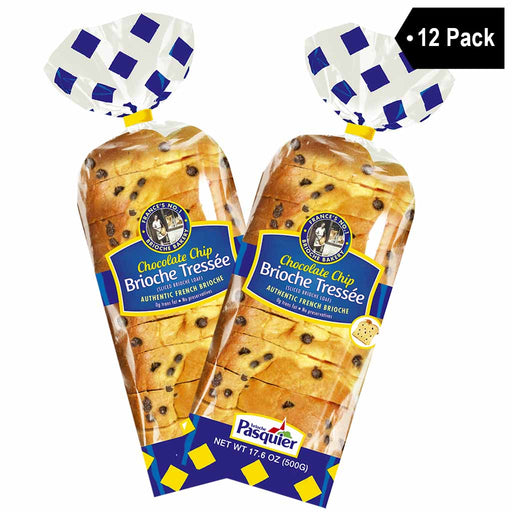 12 Pack Brioche Pasquier Authentic French Sliced Chocolate Chip Brioche