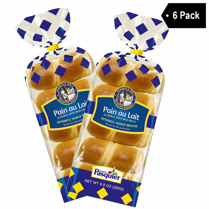 6 Pack Brioche Pasquier 8 Pain au Lait French Sweet Milk Rolls