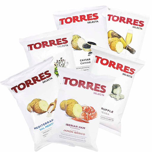 Torres Black, Truffle, Caviar, Mediterranean Herb, Iberico Jamon Ham, Sparkling Wine and Sea Salt Potato Chips, Large Packs