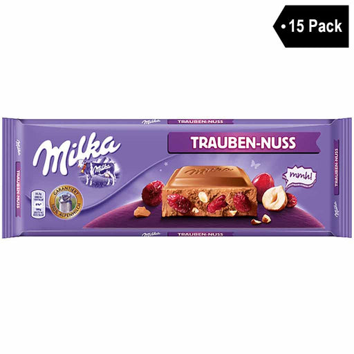 15 Pack Milka Large Milk Chocolate with Raisins and Nuts (9.5 oz. x 15)